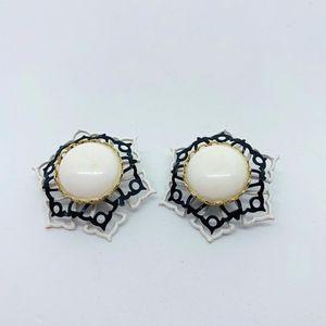 Jewelry - Chunky Black White Clip Earrings